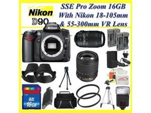 Nikon D90 SLR Digital Camera Kit with Nikon 18-105mm VR Lens and Nikon AF-S NIKKOR 55-300mm f/4.5-5.6G ED VR Zoom Lens + ...