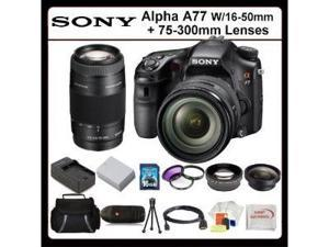 Sony Alpha A77 24MP Digital Camera w/ 75-300mm Zoom Lens + wide & Telephoto Lens, Battery W/ 1HR Rapid Charger And Much More