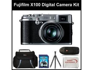 Fujifilm X100 Digital Camera Kit Includes: Fujifilm X-100 Camera, 8 GB Memory Card, Memory Card Reader, Gripster Tripod, ...