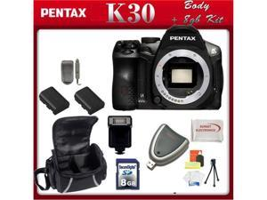 Pentax K-30 Digital Camera Body 2 Replacement Batteries, Rapid Travel Charger, 8GB SD Card, SD Card Reader, Flash, Large ...