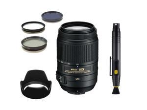 Nikon AF-S NIKKOR 55-300mm f/4.5-5.6G ED VR Zoom Lens with 3PC Filter Kit, Tulip Lens Hoo, & Lens Cleaning Pen