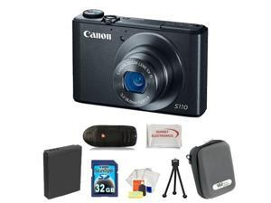 Canon PowerShot S110 Digital Camera (Black) 32GB Bundle. Package Includes: 32GB Memory Card, Memory Card Reader, Extended ...