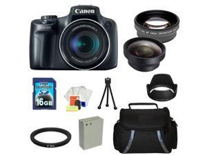 Canon PowerShot SX50 HS Digital Camera Kit. Includes: 0.45X Wide Angle Lens, 2X Telephoto Lens, Lens Hood, 16GB Memory Card, ...