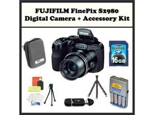 FUJIFILM FinePix S2980 + Accessory Kit. Includes: 16GB Memory Card, Memory Card Reader, 4 AA Rechargeable Batteries, Hard ...