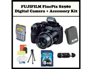 FUJIFILM FinePix S2980 + Accessory Kit. Includes: 8GB Memory Card, Memory Card Reader, 4 AA Rechargeable Batteries, Hard ...