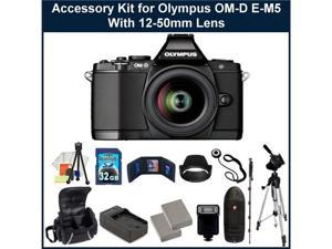Olympus OM-D E-M5 16MP Live MOS Interchangeable Lens Camera with 3.0-Inch Tilting OLED Touchscreen and 12-50mm Lens (Black). ...