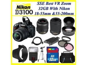 The Nikon D3100 SLR Digital Camera with Nikon 18-55m f/3.5-5.6G VR Lens and Nikon AF-S DX VR Zoom-Nikkor 55-200mm f/4-5.6G ...