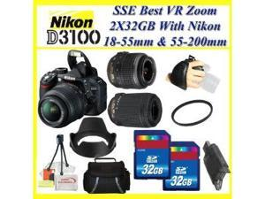 Nikon D3100 14.2MP Digital SLR Camera with Nikon 18-55mm VR Lens & Nikon 55-200mm f/4-5.6G ED AF-S DX Autofocus VR Zoom Lens ...
