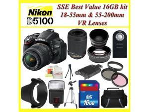 Nikon D5100 Digital SLR Camera with Nikon 18-55mm VR Lens, Nikon 55-200mm VR Lens, 3 Extra Lens,  16GB SDHC Memory Card, ...
