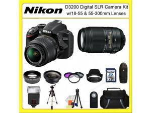 Nikon D3200 Digital SLR Camera Kit with 18-55 & 55-300mm Lenses + 0.45X Wide Angle Lens, 2X Telephoto Lens, 3 Piece Filter ...