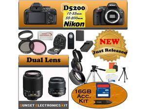 Nikon D5200 24.1 MP Digital SLR Camera (Black) With Nikon 18-55mm Lens, And 55-200mm Lens including our Huge Accessory Package