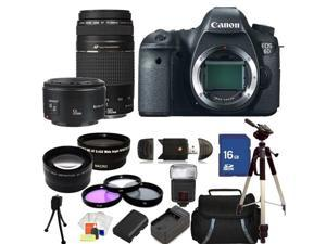 Canon EOS 6D (N) Version Digital SLR Camera with 75-300mm f/4.0-5.6 III USM & 50mm f/1.8 II Lenses. Includes: Wide Angle ...