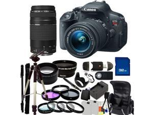 Canon EOS Rebel T5i DSLR Camera with EF-S 18-55mm f/3.5-5.6 IS STM & 75-300mm f/4.0-5.6 III Lenses. Includes: Wide Angle ...