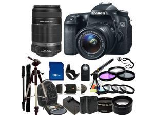 Canon EOS 70D DSLR Camera with 18-55mm STM Lens & Canon 55-250mm IS Lens with 32GB Deluxe Accessory Package