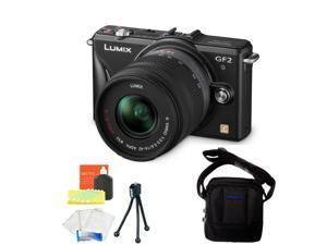 Panasonic Lumix DMC-GF2 Black Digital Micro Four Thirds Camera 14-42mm Lens Kit w/ Panasonic Case + Screen & Lens Cleaning ...