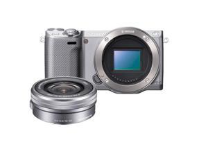 Sony Alpha NEX-5R Mirrorless Digital Camera with Sony 16-50mm f/3.5-5.6 OSS Alpha E-mount Retractable Zoom Lens - Silver