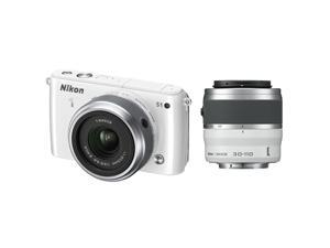 Nikon 1 S1 (27618) White Mirrorless Digital Camera with 11-27.5mm & 30-110mm Lenses
