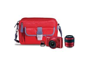 Nikon 1 S1 (13282) Red Mirrorless Digital Camera with 11-27.5mm, 30-110mm Lenses, Nikon Camera Case, & Sandisk 16GB SDHC ...