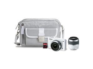 Nikon 1 S1 (13274) White Mirrorless Digital Camera with 11-27.5mm, 30-110mm Lenses, Nikon Camera Case, & Sandisk 16GB SDHC ...