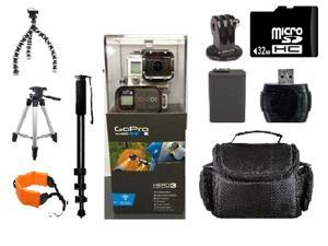GoPro HERO3 Black Edition Camera Kit - 3 Tripods, 32GB Micro SD Card, Floating Strap, Case & More