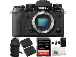 Fujifilm X-T2 Mirrorless Digital Camera (Body Only) 6PC Bundle. Includes Two W126 Batterie + SanDisk Extreme PRO SDSDXPA-064G-X46 SDXC Flash Memory Card + MORE