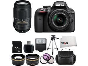 Nikon D3300 1532 Black Digital SLR Camera with 18-55mm VR Lens & Nikon 55-300mm VR Lens Basic 16GB Bundle