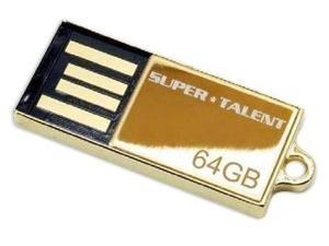 SuperTalent 64GB Pico-C Gold USB Flash Drive. Shock and water resistant. 200X Read Write speed. Model STU64GPCG