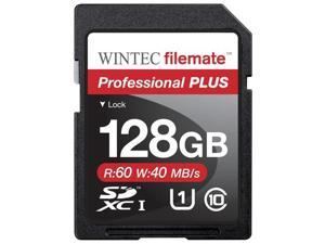 Wintec 128GB FileMate Professional Plus UHS-I SDHC SDXC Class 10 Flash Memory Card Model 3FMSD128GU1PI-R