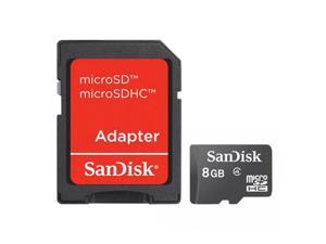 Sandisk 8GB Micro SDHC Memory Card With SD adapter Model SDSDQ-8192-E11M