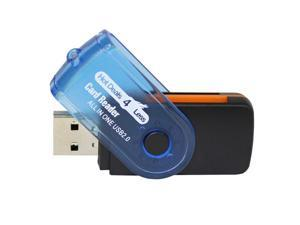 HD4L All in one USB Card Reader for SD SDHC SDXC, Micro SD SDHC and SDXC, M2, MS Memory Stick Pro and Duo. White Orange Swivel ...