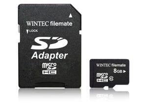 Wintec FileMate 8GB Micro SDHC Professional Class 10 Memory Card Full HD with SD Adapter. Model 3FMUSD8GBC10-R