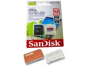 SanDisk 64GB Ultra MicroSDXC Class 10 UHS-1 Micro SDHC SDXC Memory Card 30MB/s with All in one Hot Deals 4 Less card Reader. ...