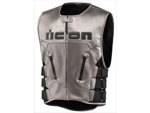 ICON Leather Vest Regulator Hayabusa Motorcycle Vest Stainless Small/Medium