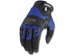 Icon Twenty-Niner Motorcycle Gloves Blue Large