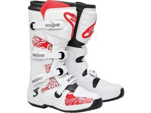 Alpinestars Tech 3 Off-Road Motocross Boots White/Red Chrome Size EUR47/US12