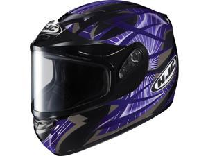 HJC Helmets Cs-R2 Storm Dual Lens Black // Silver Helmet Purple Size X-Small
