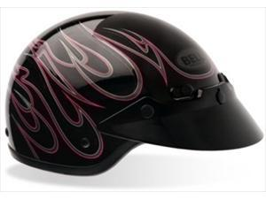 Bell Shorty Flames Pink Open Face Motorcycle Helmet XX-Large