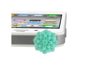 MiniSuit Universal Cell Phone Dustplug for 3.5mm Earphone Jack Cap (Sky Blue Flower)