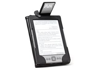 Leather Case Cover for Amazon Kindle 4 4th Gen/Generation E-Reader with LED Reading Book Light (Black) + MiniSuit Micro-Fiber ...