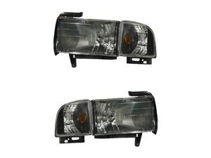 DODGE RAM 94-01 CRYSTAL HEADLIGHT BLACK AMBER WITH CORNER LIGHT NEW