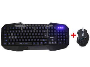 AGPtek LED Illuminated Ergonomic USB Wired Multimedia Blue Backlight Backlit Gaming Keyboard w/ USB Wired Optical 7D 7 Buttons ...