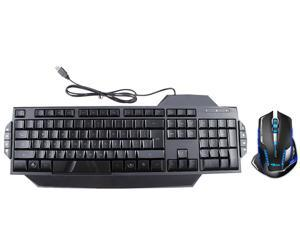 LED Illuminated Ergonomic USB Wired Multimedia Blue & Red Backlight Backlit Gaming Keyboard w/ 2500DPI USB 2.4GHz Wireless ...