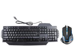 LED Illuminated Ergonomic USB Wired Multimedia Blue/ Red Backlight Backlit Gaming Keyboard w/ 2500 DPI Blue LED Optical USB ...
