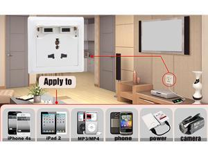 New Safety USB Charging Wall Plug Sockets with 2 USB Ports, 1 Multi Function Socket, AC Adapter Outlets w/ Surge Protector