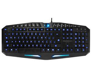 LED Illuminated Ergonomic USB Wired Multimedia Blue/Red Backlit Switchable Brightness Adjustable Gaming Keyboard for PC Laptop
