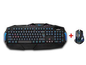 Illuminated USB Backlit Backlight LED Gaming Multimedia Keyboard w/ 2500 DPI Blue LED 2.4GHz Wireless Gaming Mouse for PC ...