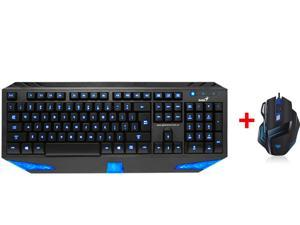 LED Illuminated Ergonomic USB Wired Blue Backlight Backlit Gaming Keyboard w/ 2000DPI USB 7 Buttons/7D Firepower Button BackLight ...