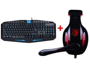 Blue/Red LED Illuminated Ergonomic USB Wired Multimedia Backlit Gaming Keyboard + USB 2.0 7.1 Surround Professional Gaming ...
