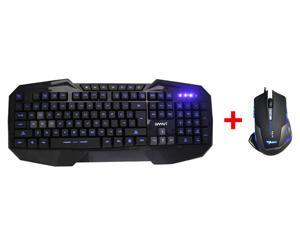 AGPtek LED Illuminated Ergonomic USB Wired Multimedia Blue Backlight Backlit Gaming Keyboard w/ 2500DPI Blue LED Optical ...