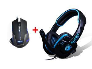 PC Gaming Headset w/ Microphone Mic + 2500DPI LED Optical USB Wired Pro Gaming Mouse Mice for PC Laptop Mac